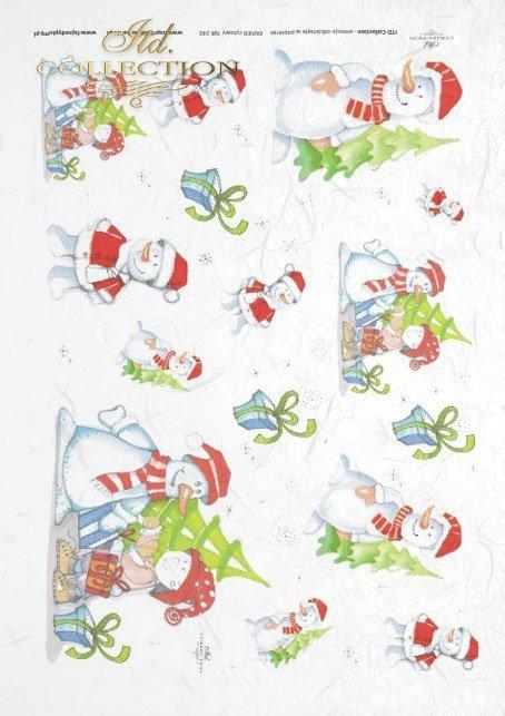 winter, Christmas, winter themes, snowmen, happy snowmen, red hats, Christmas presents, Dorota Marciniak