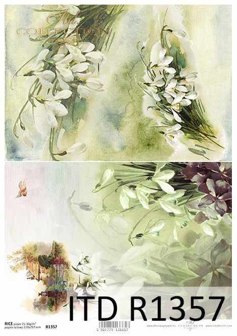 papier ryżowy decoupage kwiaty, Przebiśniegi, wiejski domek*rice paper decoupage flowers, snowdrops, country house