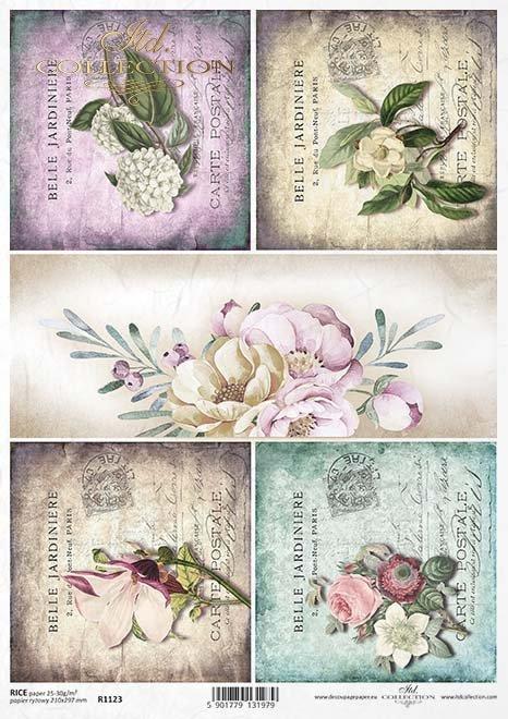 flores de papel decoupage, tarjetas de edad*Decoupage papírové květiny, staré karty*Decoupage Papier Blumen, alte Karten
