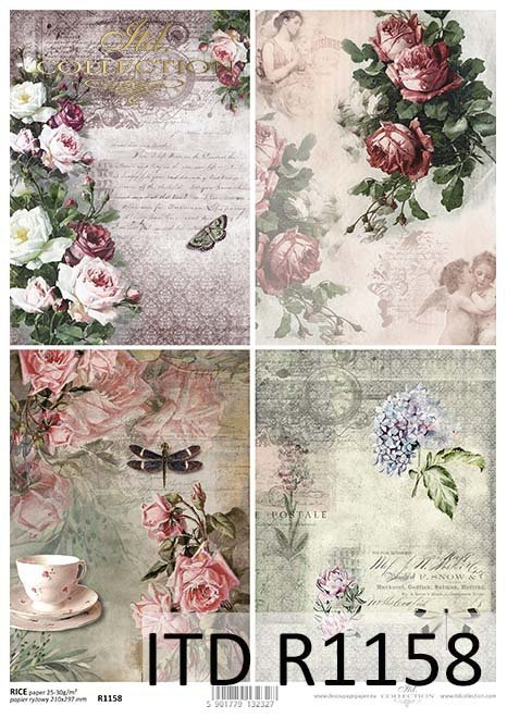 papier decoupage Vintage, kwiaty, róże, motyle, ważki*Vintage papel decoupage, flores, rosas, mariposas, libélulas