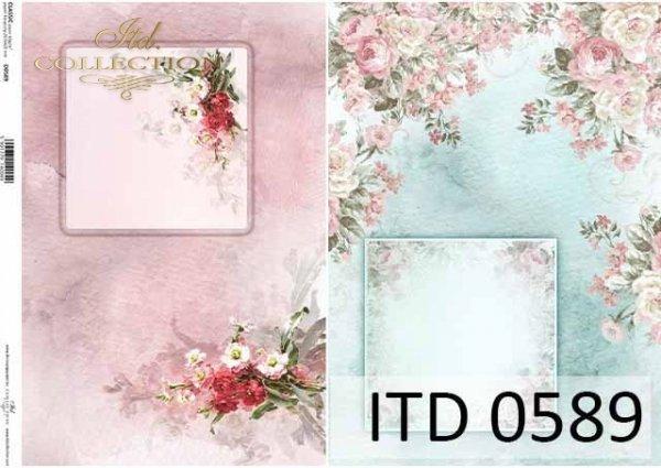 papier decoupage kompozycje kwiatowe, ozdobne ramki*decoupage paper flower arrangements, decorative frame