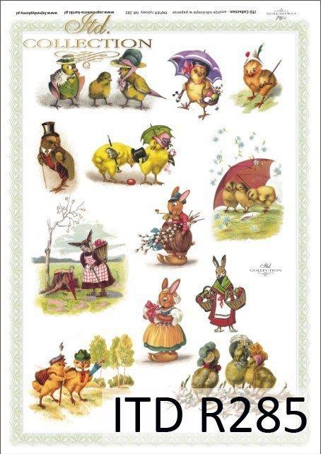 Wielkanoc, króliki, zające, kwiatki, wiosna, jajka, pisanki, R285
