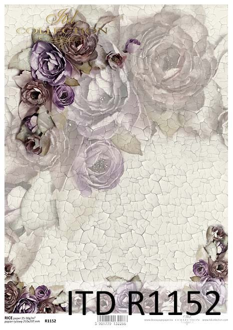 papier decoupage kwiaty, spękania, koronka*Paper decoupage flowers, cracks, lace