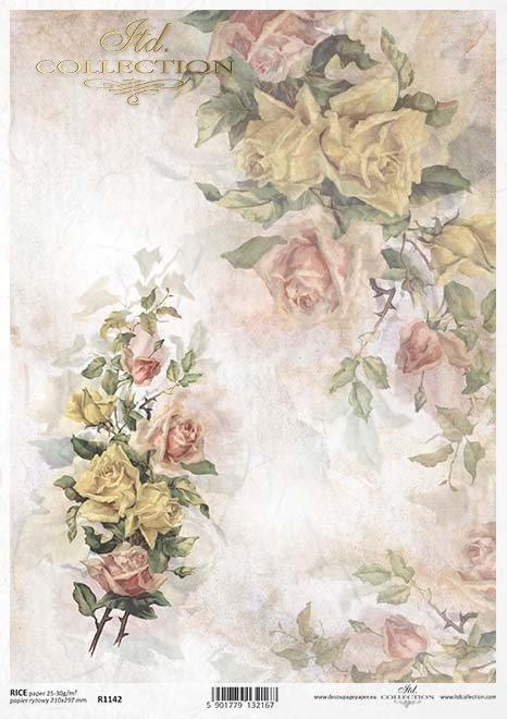 flores de papel decoupage, rosas*decoupage papírové květiny, růže*decoupage Papierblumen , Rosen