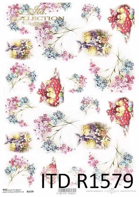 Wielkanoc, wiosenne kwiatki, niezapominajki, kurczaczki*Easter, spring flowers, forget-me-nots, chicken