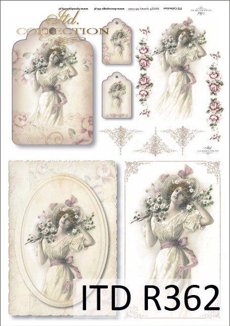 vintage, retro, kobieta, sukienka, kwiaty, dekoracje kwiatowe, medalion, deseczka, romantyzm, R362