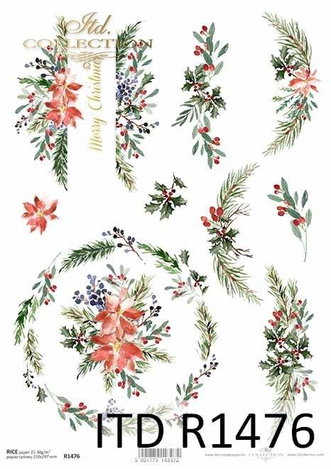 Boże Narodzenie, świąteczne kompozycje kwiatowe, napisy*Christmas, Christmas floral compositions, inscriptions