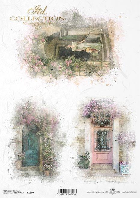 Papel Decoupage-retro-romántico-mujer-puerta-con-flores*Papier Decoupage-retro-romantischen-Frau-Tür-mit-Blumen*Бумага Декупаж-ретро-романтическая женщина-двери-с цветами