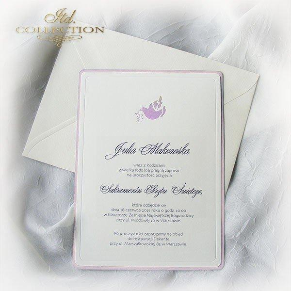 Приглашение на Святое Крещение 1748 голубь розовый