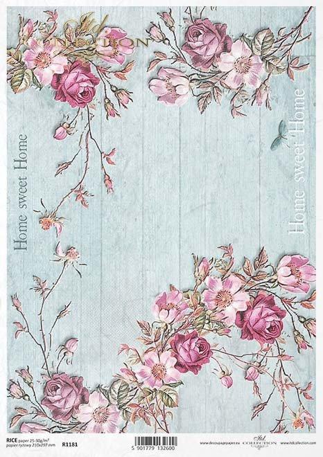 decoupage flores de papel, Home Sweet Home*decoupage Papierblumen , Home Sweet Home