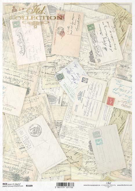 Papier Decoupagepapier Postkarten, Briefe*Papír Decoupage pohlednice, dopisy*Paper decoupage postcards, letters
