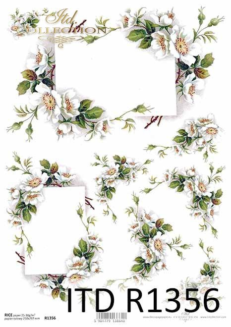 papier ryżowy decoupage kwiaty, kwiat dzikiej róży*rice paper decoupage flowers