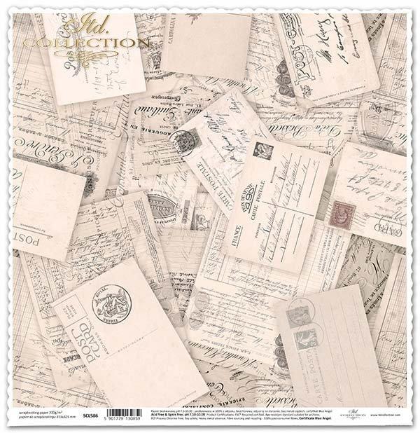 Papír na scrapbooking - staré pohlednice, Vintage*Papel para álbumes de recortes - postales antiguas, de época*Papier für das Scrapbooking - alte Postkarten, Vintage-Stil