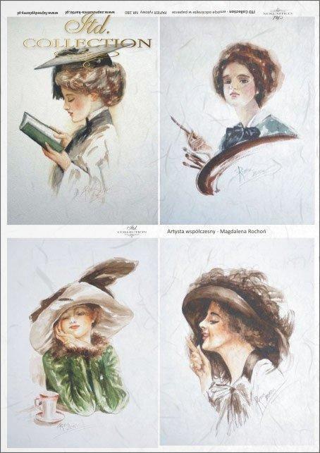 portrait, portraits, women, hairstyle, haircut, hat, retro, lady, Magdalena Rochoń, R280