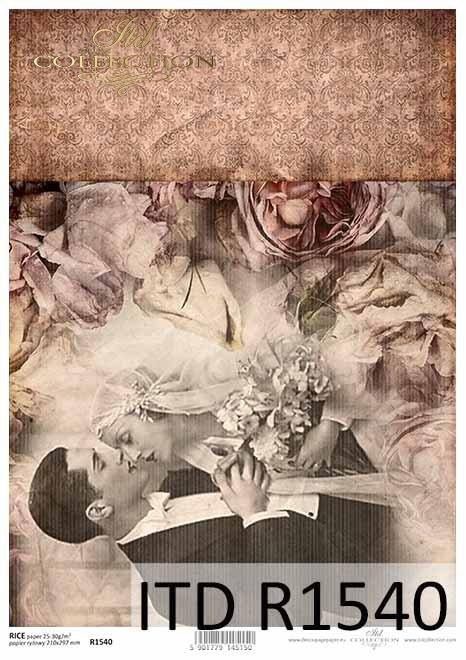 Papier decoupage retro, młoda para, nowożeńcy, zakochani*Retro decoupage paper, young couple, newlyweds, lovers
