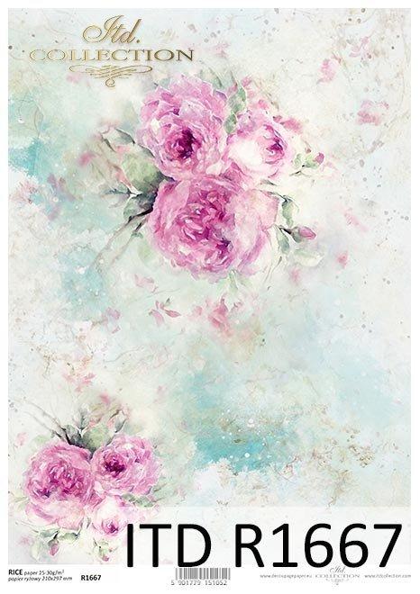 Schäbiger Chic, Hintergrund, Tapete, Aquarell, Pastellrosen*Shabby Chic, fondo, papel tapiz, acuarela, rosas pastel