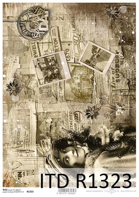 Papier decoupage Vintage, Sepia, gazety, zdjęcia*Vintage decoupage paper, Sepia, newspapers, photos