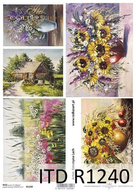Papier decoupage malarstwo współczesne, słoneczniki, polne kwiaty*Paper decoupage contemporary painting, sunflowers, wildflowers