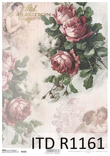 papier decoupage Vintage, kwiaty, róże, aniołki*Vintage decoupage paper, flowers, roses, angels