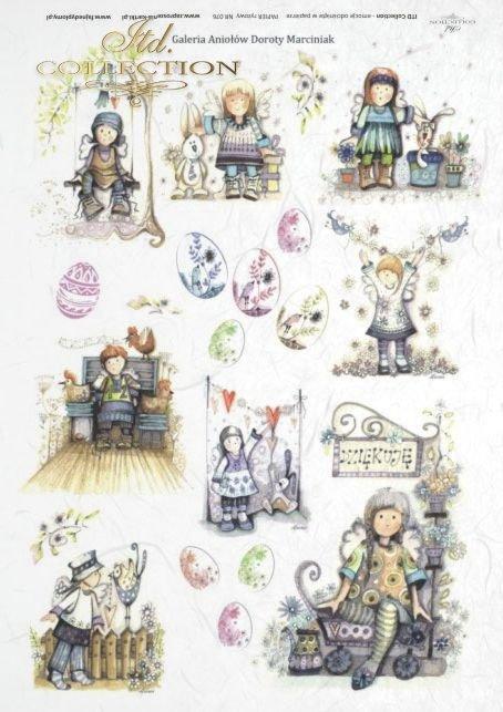 Easter, spring, angel, angels, egg, eggs, flower, flowers, bird, birds, hare, hares, Dorota Marciniak, R076