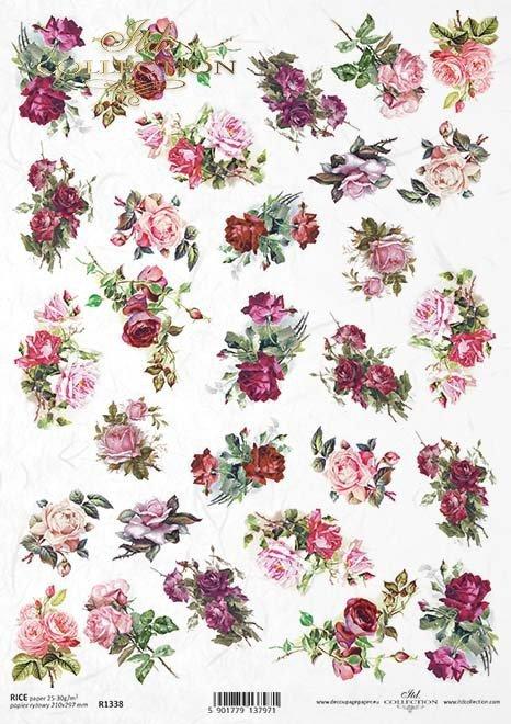 flores de decoupage de papel de arroz, rosas*Reispapier Decoupage Blumen, Rosen*рисовая бумага декупаж цветы, розы