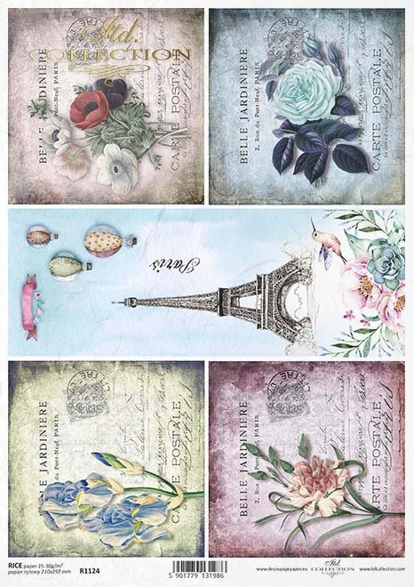 decoupage flores de papel, la Torre Eiffel, París*Decoupage papírové květiny, Eiffelova věž, Paříž*decoupage Papierblumen , der Eiffelturm , Paris