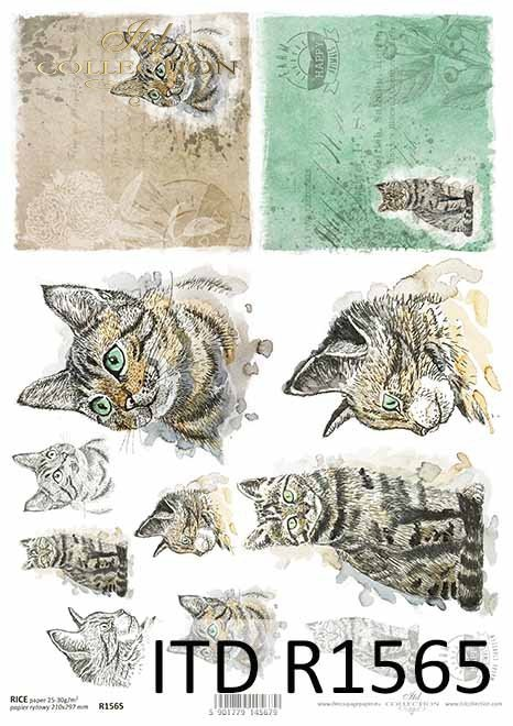 Papier decoupage Wielkanoc, szczęśliwa farma, koty*Easter decoupage paper, happy farm, cats