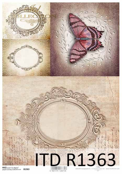 Papier decoupage stare ramki, motyl, Vintage*Decoupage paper with old frame, butterfly, Vintage