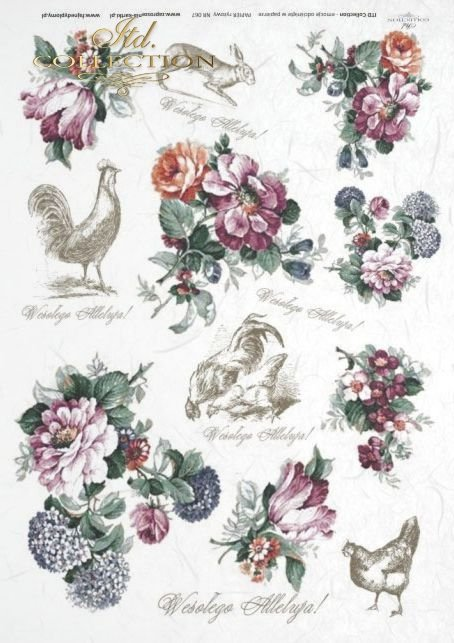 Easter, flower, flowers, hen, chicken, hare, hares, retro, vintage, R067