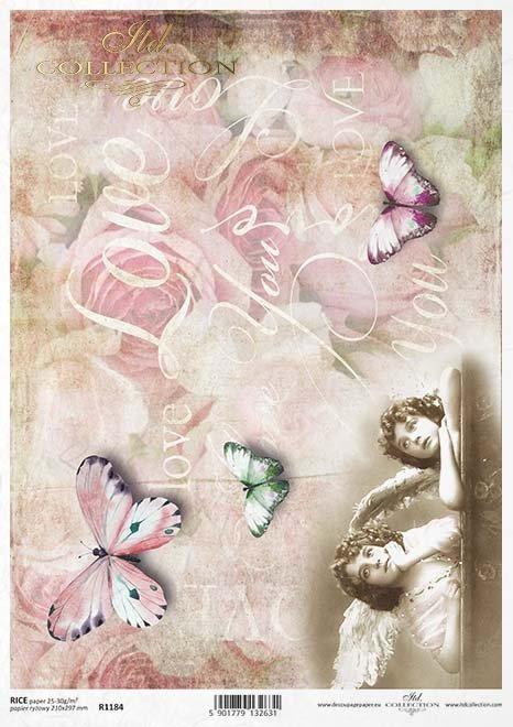 Vintage papel decoupage, ángeles, mariposas*Vintage-Papier decoupage, Engel, Schmetterlinge