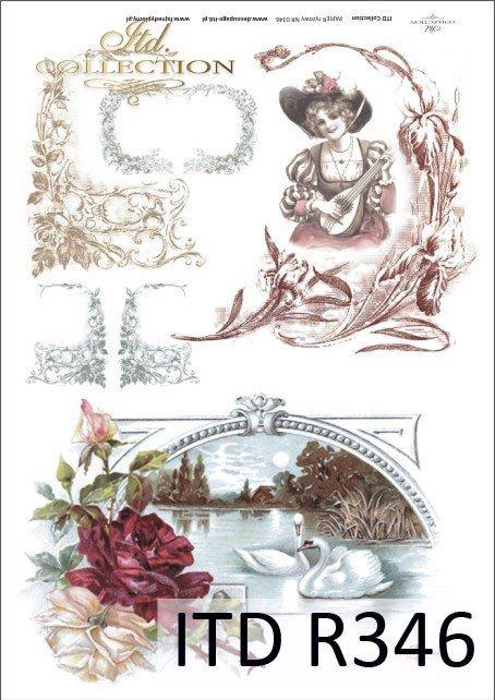 kobieta, kwiat, kwiaty, ornamenty kwiatowe, Passe partout, R346