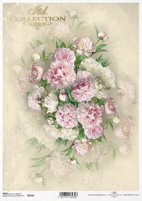 decoupage Papierblumen , Pfingstrosen*flores de papel decoupage, peonías
