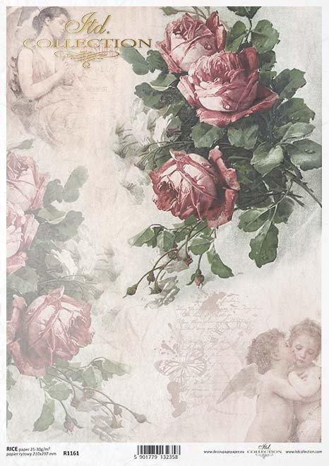Vintage-Papier decoupage, Blumen, Rosen, Engel*Vintage papel decoupage, flores, rosas, ángeles*Klasické papírové découpage, květiny, růže, andělé