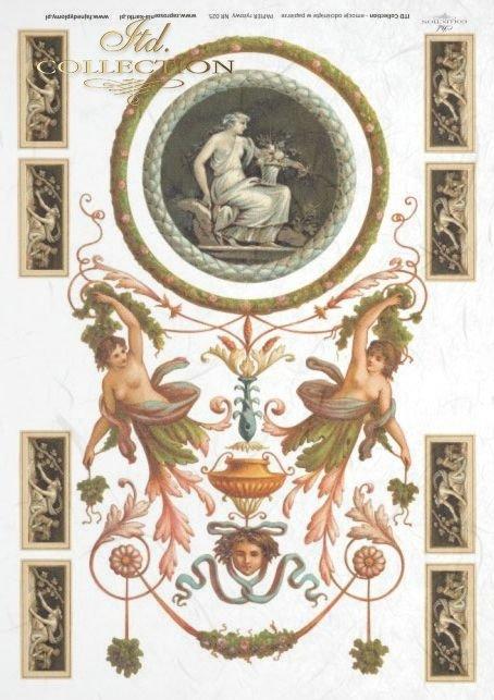medallion, medallions, antique, flower, flowers, decoration, decorations, ornament, ornaments, R025