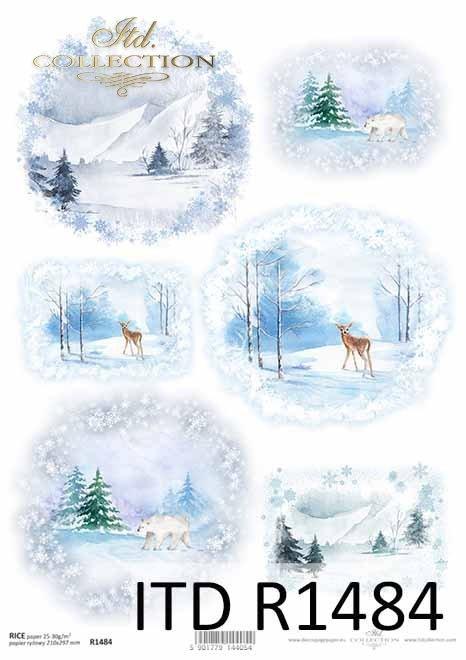 zimowe widoczki, góry, sarna, niedźwiedź*winter views, mountains, deer, bear