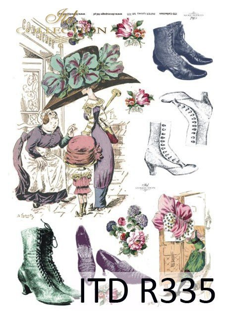 moda, Paryż, dawna Francja, vintage, kapelusz, kapelusze, but, buty, żart, kwiaty,