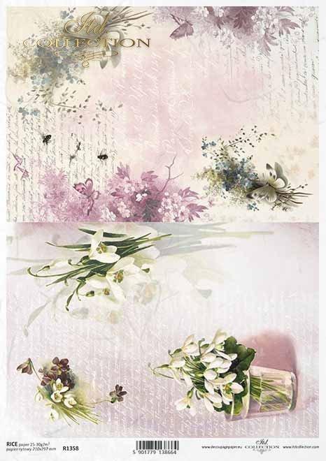 flores de decoupage de papel de arroz, campanillas, carta vieja*Reispapier Decoupage Blumen, Schneeglöckchen, alter Brief*рисовая бумага декупаж цветы, подснежники, старое письмо