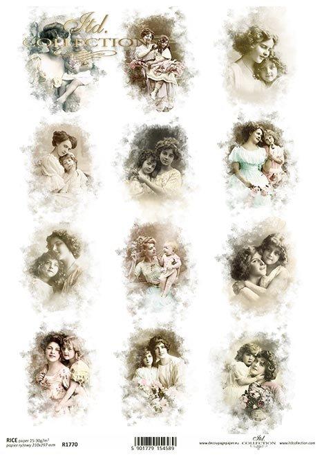 Zdjęcia retro, matka z córką, matka z dzieckiem, dzieci, dziewczynki