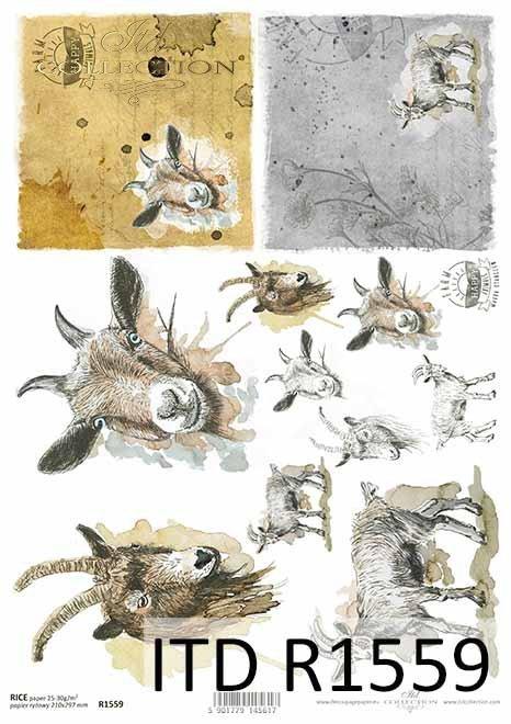 Papier decoupage Wielkanoc, szczęśliwa farma, kozy, kózki, kozły*Easter decoupage paper, happy farm, goat