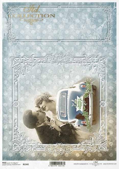 Młoda-Para-kochankowie-zakochani-samochód-do-ślubu-ozdobne-białe-ramki-pastelowe-tło-w-kropeczki-Vintage-Papier-decoupage-ryżowy-R1542