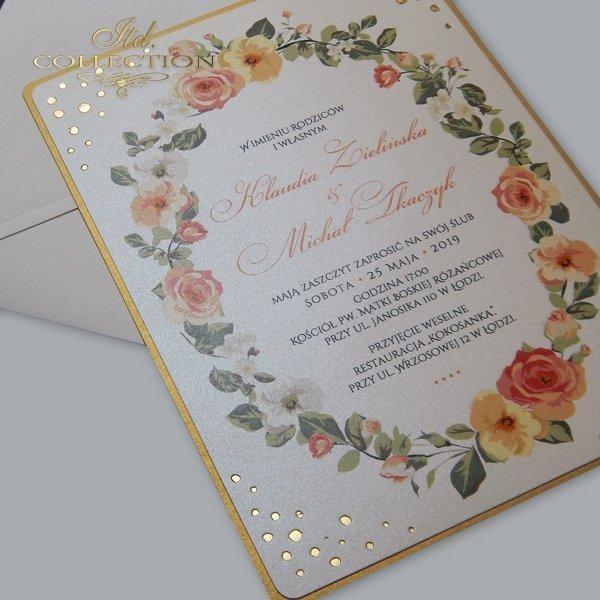 Zaproszenie 2072*Zaproszenia ślubne*zaproszenia na ślub*zaproszenia weselne*zaproszenia z kwiatami*eleganckie zaproszenia