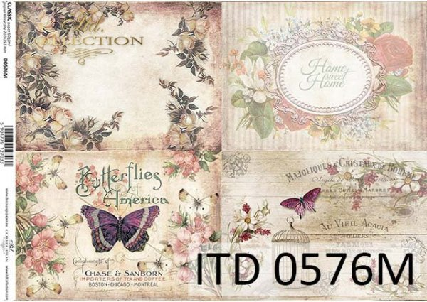 papier do decoupage kwiaty, motyle, ozdobne ramki*Paper for decoupage flowers, butterflies, ornamental frames