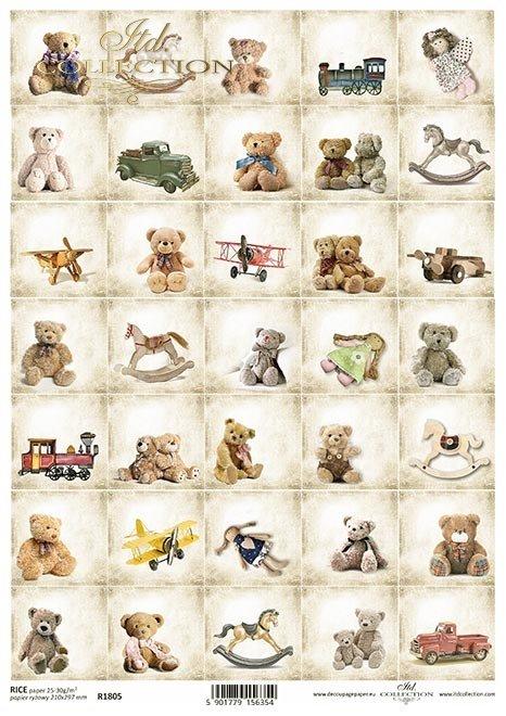 Kalendarz adwentowy, retro zabawki, misie, szmaciane lalki, konie na biegunach, drewniane zabawki, pluszaki