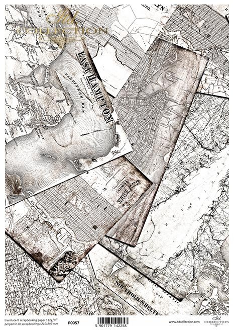 Pergamin do scrapbookingu; stare mapy, plan miasta, retro, Vintage