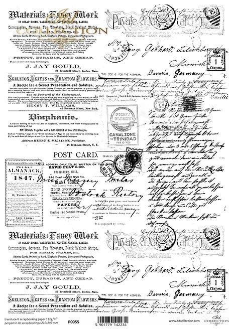 Pergamin do scrapbookingu; czarne elementy, retro, Vintage, stare pismo, gazeta, kartka pocztowa, pocztówka, stempel