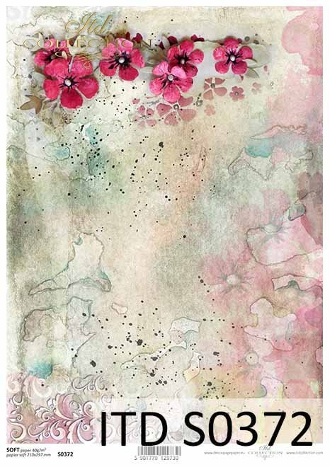 papier decoupage kwiaty, kolorowe akwarele*paper decoupage flowers, colorful watercolors