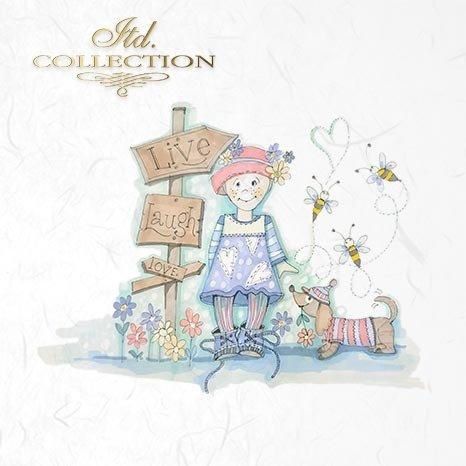 Zestaw papierów ryżowych ITD - RSM014 * grafiki Doroty Marciniak * dzieci, chłopiec, dziewczynka, pies, kot, żyrafa, zając