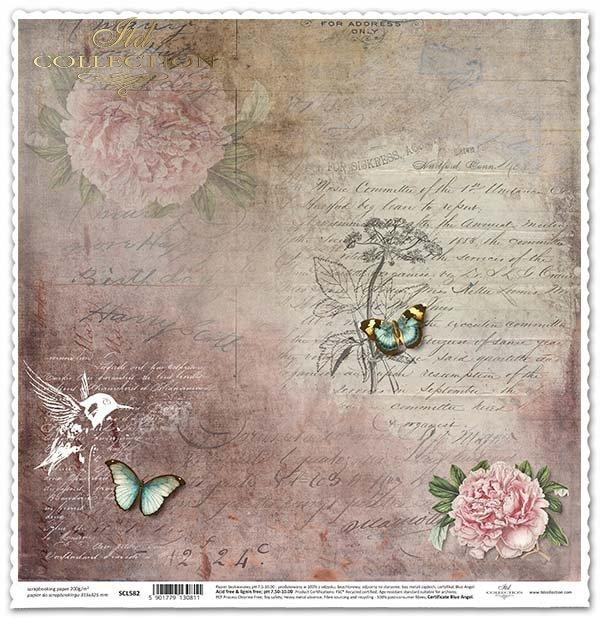 Papír na scrapbooking - kolibřík, květiny, motýli*Papel para álbum de recortes - colibrí, flores, mariposas*Papier für das Scrapbooking - Kolibri, Blumen, Schmetterlinge