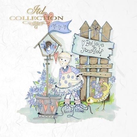 Zestaw papierów ryżowych ITD - RSM013 * grafiki Doroty Marciniak * dzieci, dziewczynka, dżdżownica, miś, żyrafa, zając