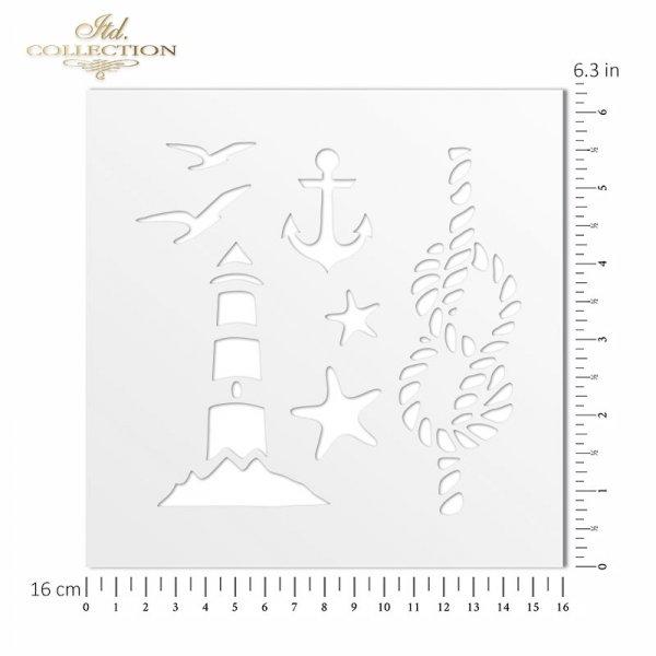 ST0040 - latarnia morska, ptaki, kotwica, lina, rozgwiazdy
